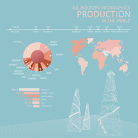 Oil industry infographic on the color background. Vector illustration. 60016000611| 写真素材・ストックフォト・画像・イラスト素材|アマナイメージズ