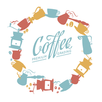 Coffee related icons composition in radial frame. Vector illustration. 60016000657| 写真素材・ストックフォト・画像・イラスト素材|アマナイメージズ