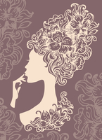 Beautiful woman silhouette with a flowers  60016001016| 写真素材・ストックフォト・画像・イラスト素材|アマナイメージズ