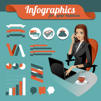 Business nfographics. Set of infographics elements and beauty business woman 60016001305| 写真素材・ストックフォト・画像・イラスト素材|アマナイメージズ