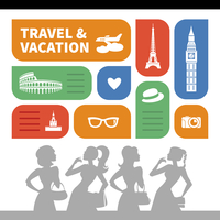 Travel and vacation shopping background.  Beautiful girl silhouettes and  flat design with travel icons 60016001371| 写真素材・ストックフォト・画像・イラスト素材|アマナイメージズ