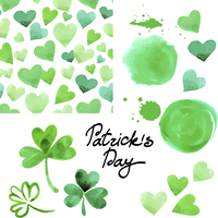 St. Patrick`s day watercolor illustration set. Collection of design elements isolated on white background. Vector illustration 60016001389| 写真素材・ストックフォト・画像・イラスト素材|アマナイメージズ