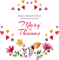 Save the date love card with watercolor floral bouquet. Wedding and Valentine's Day vector illustration 60016001459| 写真素材・ストックフォト・画像・イラスト素材|アマナイメージズ