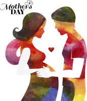 Watercolor pregnant beautiful woman silhouette with her husband. Card of Happy Mothers Day. Vector illustration 60016001482| 写真素材・ストックフォト・画像・イラスト素材|アマナイメージズ