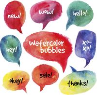 Watercolor speech bubbles set. Vector illustrations 60016001660| 写真素材・ストックフォト・画像・イラスト素材|アマナイメージズ