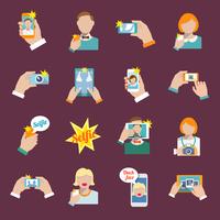 Selfie self portrait camera portrait photo taking flat icons set isolated vector illustration. 60016001665  写真素材・ストックフォト・画像・イラスト素材 アマナイメージズ