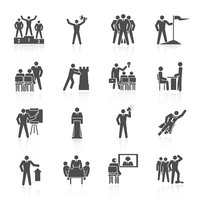 Leadership global organization partnership and group working icons black set isolated vector illustration 60016001680| 写真素材・ストックフォト・画像・イラスト素材|アマナイメージズ