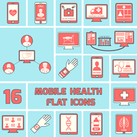 Mobile health call doctor online pharmacy icons flat line set isolated vector illustration 60016001684| 写真素材・ストックフォト・画像・イラスト素材|アマナイメージズ