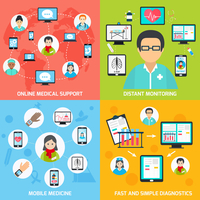 Mobile health online medical support distant monitoring flat set isolated vector illustration 60016001690| 写真素材・ストックフォト・画像・イラスト素材|アマナイメージズ