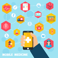 Mobile health concept with human hand holding smartphone and medicine icons connected vector illustration 60016001692| 写真素材・ストックフォト・画像・イラスト素材|アマナイメージズ