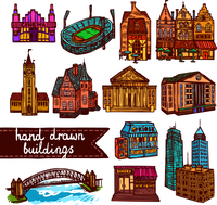 Sketch city building architecture decorative color icons set  isolated vector illustration 60016001716| 写真素材・ストックフォト・画像・イラスト素材|アマナイメージズ