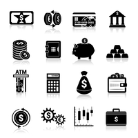 Bank service money black icons set with cash banknote and coins isolated vector illustration 60016001723| 写真素材・ストックフォト・画像・イラスト素材|アマナイメージズ