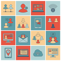 Global people mobile phone and tablets communication social connection outline icons set isolated vector illustration 60016001739| 写真素材・ストックフォト・画像・イラスト素材|アマナイメージズ