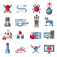 Hacker activity computer and e-mail spam viruses icons set isolated vector illustration 60016001762| 写真素材・ストックフォト・画像・イラスト素材|アマナイメージズ