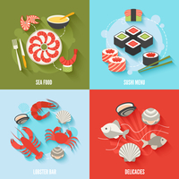 Seafood flat icons set with sushi menu lobster bar delicacies isolated vector illustration 60016001772| 写真素材・ストックフォト・画像・イラスト素材|アマナイメージズ