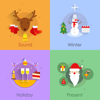 Christmas icons flat set with holiday sound winter present isolated vector illustration 60016001805| 写真素材・ストックフォト・画像・イラスト素材|アマナイメージズ