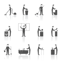 Cleaning black icons set with people figures and housekeeping equipment isolated vector illustration 60016001819| 写真素材・ストックフォト・画像・イラスト素材|アマナイメージズ