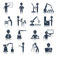 Engineering construction process factory production black icons set isolated vector illustration 60016001851| 写真素材・ストックフォト・画像・イラスト素材|アマナイメージズ