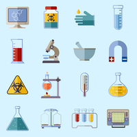 Science and research laboratory icons set with monitor poison protective gloves flask isolated vector illustration 60016001853| 写真素材・ストックフォト・画像・イラスト素材|アマナイメージズ