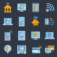 Mobile banking icons set with electronic devices and finance services applications isolated vector illustration 60016001855| 写真素材・ストックフォト・画像・イラスト素材|アマナイメージズ