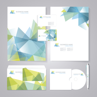 Corporate identity template with blue and green geometric elements. Documentation for business. 60016002517| 写真素材・ストックフォト・画像・イラスト素材|アマナイメージズ