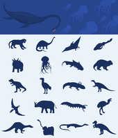 Collection of a dinosaur. Collection of dinosaurs of the ancient nature. A vector illustration 60016002742| 写真素材・ストックフォト・画像・イラスト素材|アマナイメージズ
