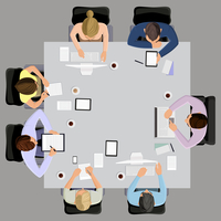 Office workers business management meeting and brainstorming on the square table in top view vector illustration 60016002924| 写真素材・ストックフォト・画像・イラスト素材|アマナイメージズ