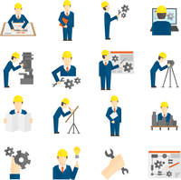 Set of construction industry engineer workers icons in flat style for profession science user computer interface vector illustra 60016002938| 写真素材・ストックフォト・画像・イラスト素材|アマナイメージズ
