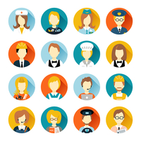 Set of colorful profession people flat style icons in circles with long shadows vector illustration 60016002964| 写真素材・ストックフォト・画像・イラスト素材|アマナイメージズ