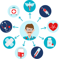 Medical emergency first aid health care icons set with doctor avatar vector illustration 60016003036| 写真素材・ストックフォト・画像・イラスト素材|アマナイメージズ
