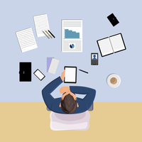 Office worker on table with papers top view vector illustration 60016003106| 写真素材・ストックフォト・画像・イラスト素材|アマナイメージズ