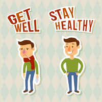 Sick and healthy man sticker characters isolated vector illustration 60016003132| 写真素材・ストックフォト・画像・イラスト素材|アマナイメージズ