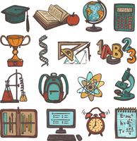 Retro school education colored sketch icons set of graduation hat book calculator isolated vector illustration 60016003136| 写真素材・ストックフォト・画像・イラスト素材|アマナイメージズ