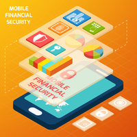Isometric mobile financial secure and business elements with smartphone vector illustration 60016003339| 写真素材・ストックフォト・画像・イラスト素材|アマナイメージズ