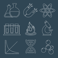 Physics education science laboratory equipment  scientific outline icons set isolated vector illustration 60016003384| 写真素材・ストックフォト・画像・イラスト素材|アマナイメージズ