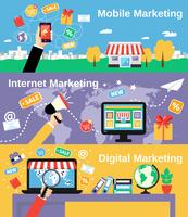 Digital mobile internet marketing line banners set isolated vector illustration 60016003441| 写真素材・ストックフォト・画像・イラスト素材|アマナイメージズ
