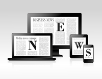 Media business news concept with pc laptop tablet smartphone vector illustration 60016003465| 写真素材・ストックフォト・画像・イラスト素材|アマナイメージズ