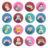 Selfie self portrait smartphone camera picture taking flat icons set isolated vector illustration 60016003528| 写真素材・ストックフォト・画像・イラスト素材|アマナイメージズ