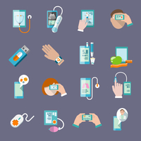 Mobile health online pharmacy computer diagnostics icons flat set isolated vector illustration 60016003530| 写真素材・ストックフォト・画像・イラスト素材|アマナイメージズ