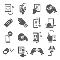 Mobile health pharmacy delivery computer diagnostics icons black set isolated vector illustration 60016003531| 写真素材・ストックフォト・画像・イラスト素材|アマナイメージズ
