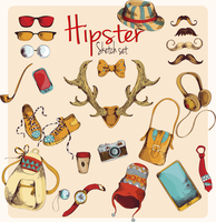 Hipster character pack sketch decorative icons colored set with horns gumshoes cap isolated vector illustration 60016003545| 写真素材・ストックフォト・画像・イラスト素材|アマナイメージズ