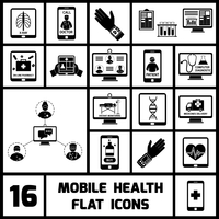 Mobile health call doctor distant monitoring icons black set isolated vector illustration 60016003547| 写真素材・ストックフォト・画像・イラスト素材|アマナイメージズ