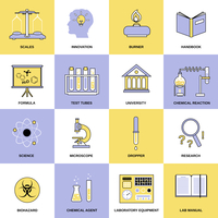 Science chemistry laboratory research equipment flat line icons set isolated vector illustration 60016003707| 写真素材・ストックフォト・画像・イラスト素材|アマナイメージズ