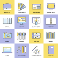Graphic design studio tools drawing process workplace flat line icons set isolated vector illustration 60016003710| 写真素材・ストックフォト・画像・イラスト素材|アマナイメージズ