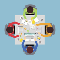 Business team meeting teamwork concept top view group people on squared table vector illustration. 60016003729| 写真素材・ストックフォト・画像・イラスト素材|アマナイメージズ