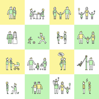 Family figures friends togetherness couple flat line icons set isolated vector illustration 60016003735| 写真素材・ストックフォト・画像・イラスト素材|アマナイメージズ
