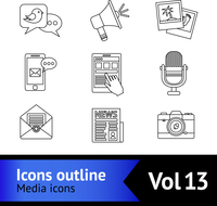 Media news social communication outline icons set with megaphone tablet camera isolated vector illustration 60016003769| 写真素材・ストックフォト・画像・イラスト素材|アマナイメージズ