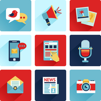 Media news social communication flat icons set with speech bubble megahone photo isolated vector illustration 60016003791| 写真素材・ストックフォト・画像・イラスト素材|アマナイメージズ