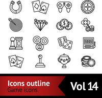 Casino smart and video games outline icons set with target diamond chips isolated vector illustration 60016003807| 写真素材・ストックフォト・画像・イラスト素材|アマナイメージズ