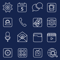 Mobile phone applications outline icons set of maps camera e-mail isolated vector illustration 60016003821| 写真素材・ストックフォト・画像・イラスト素材|アマナイメージズ